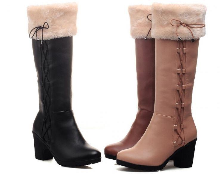 Botas invierno cómodo mujer caldi mujer cómodo talón 8 cm como piel 974 35d129