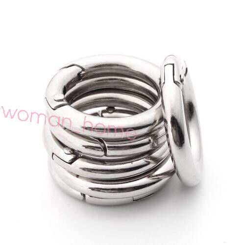 Circle Round Carabiner Silver Spring Snap Clip Hook Keychain Buckle Outdoor 2Pcs