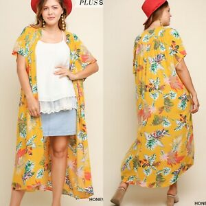 New UMGEE Open Front Kimono Cardigan Duster Boho Print Flower Long Size 2XL