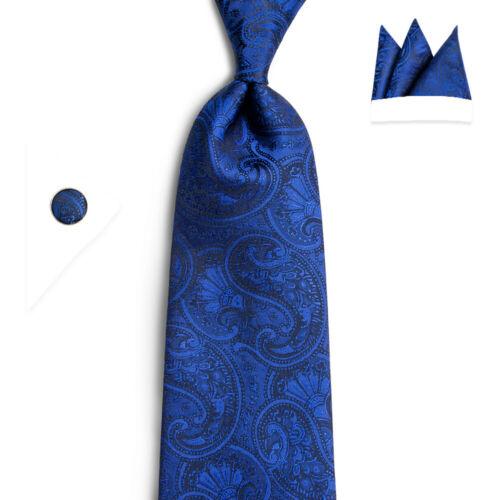 USA Blue Paisley Silk Tie Set Navy Necktie Pocket Square Cufflinks Wedding Party