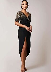 Virgos-Lounge-Black-Embellished-Julisa-Wrap-Wedding-Party-Midi-Dress-UK-8-to-16