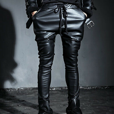ByTheR Men's Korean Fashion Modern Chic Faux Leather Training Pants P000BHFP