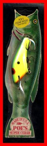 #948 Vintage 1987 POE/'S SUPER CEDAR Chartreuse Blue Fishing Lure