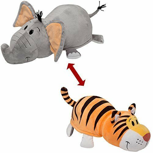 FlipaZoo, The 16inch,Pillow with 2 Sides of Fun for Everyone,tiger elephant bear