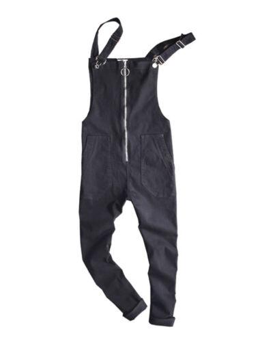 Men/'s Suspender Trousers Overalls Jumpsuits Casual Denim Pants Zip  Slim Fit Boy