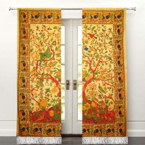 Door Mandala Curtain Valances Panel Room Hippie Sheer Bohemian Cotton Window