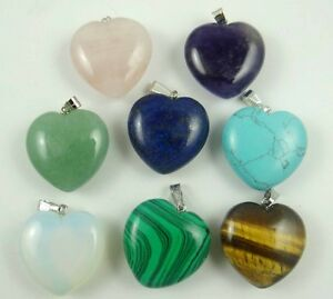 Beautiful-Mix-agate-lapis-lazuli-Peach-heart-Pendant-Gem-necklace-Making-jewelry