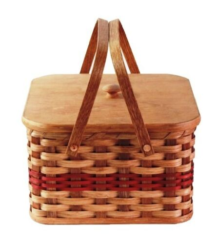 """Amish Handmade Square Double Pie Carrier Basket Hard Bottom Lid 2 9/"""" Pies"""
