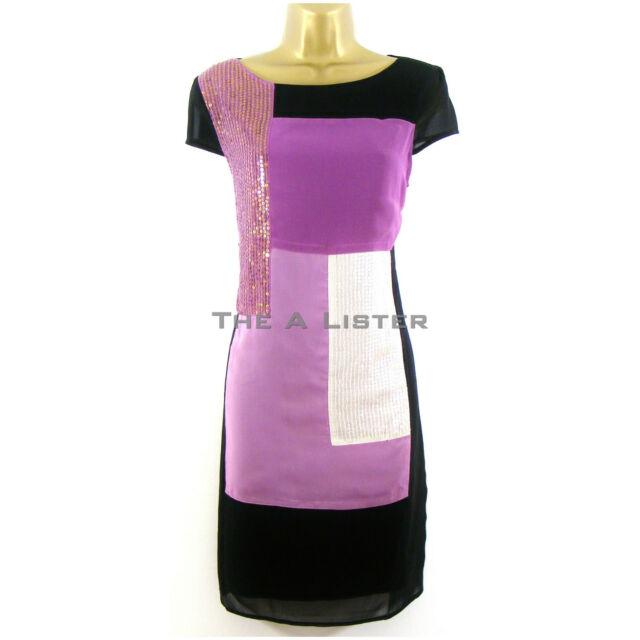 Black Purple Sequin Colour Block Chiffon Tunic Shift Dress Size 8 12  New £65