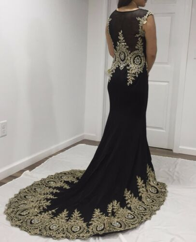 Rhinestones Black Long Train Prom Dress Pageant Wedding Brand New In Stock 4-12