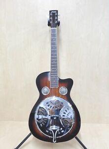 Haze All-Mahogany Roundneck Resonator Guitar,Tobacco Sunburst+Free Bag |SDG-738|