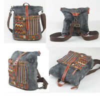 Vintage Women Girl Canvas Ethnic Backpack Rucksack Travel Messenger Shoulder Bag