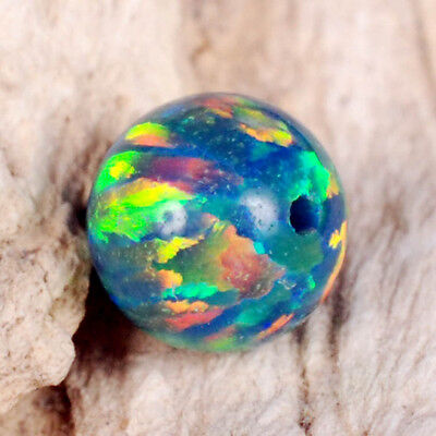 Fabulous Electrified Fiery Colors ~ Multi-Colored Blue Fire OPAL 8mm Round BEAD