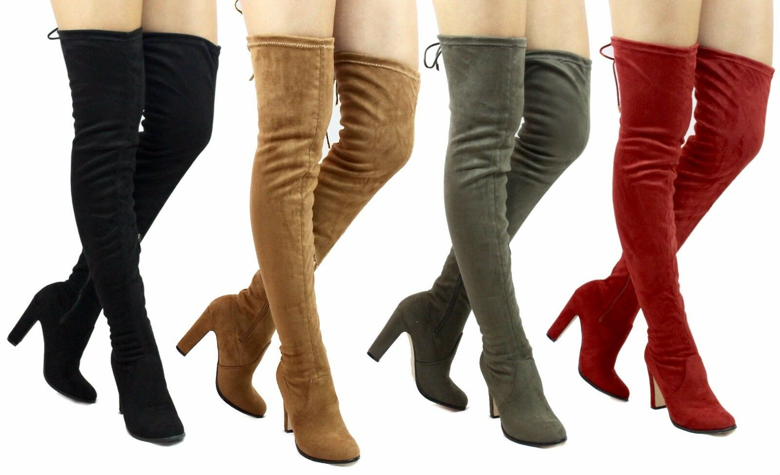 Cape Robin Mona-1 Over the Knee Chunky Heel Thigh High Round Toe Boots