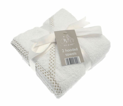 Pack of 2 Soft White Hooded Bath Time Baby Towel 100/% Cotton Towels 75cm