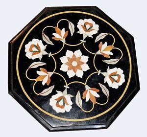 Black Octagon Marble Coffee Table Top Carnelian Mosaic Floral Inlay Art Dec B526