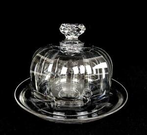 FRENCH-BRILLIANT-CUT-CRYSTAL-FACETED-FINIAL-HEAVY-5-3-4-034-CHEESE-DOME