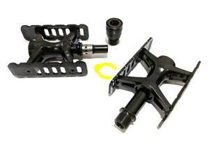 Completo Negro Edición Mks Promenade Ezy Pedales con ejes De Titanio Set Para Brompton