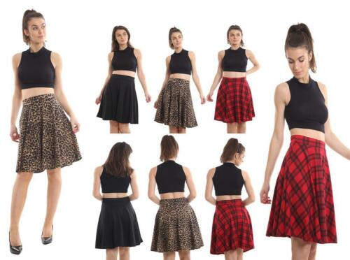 Women's Ladies Pleated Plain /& Printed Waist Band Flared Swing Skater Skirt 8-30
