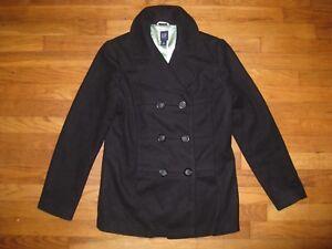 Gap-Women-039-s-Size-Medium-Black-Virgin-Wool-Blend-Double-Breasted-Peacoat-Coat