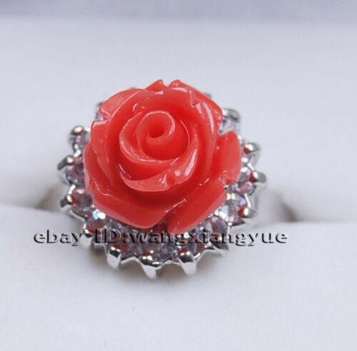 fashion corail rouge sculpté à la main fleur Bague AAA Charmant Réglable Taille