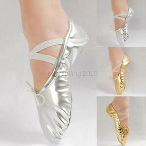 Image is loading Child-Adult-Soft-Gymnastics-Shoes-Slippers-Bling-Sequins- e27b52d1067c