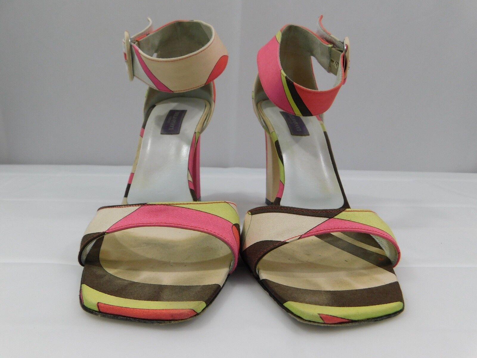Emilio Pucci Firenze Signature Silk Print Heels Ankle Strap EUR 37.5  US 7.5