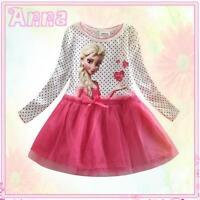 DISNEY FROZEN Princess ELSA ANNA Girls Fairytale Birthday Party Dresses AGE 5-6Y