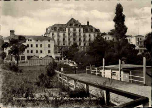 Ostseebad Heringsdorf Partie am Erholungsheim Solidarität 1960 DDR Postkarte