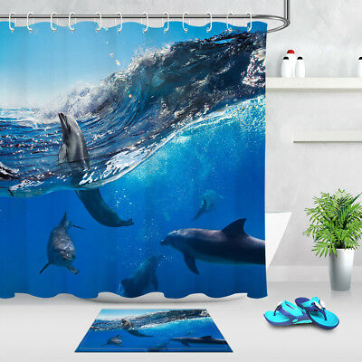 Blue Ocean Dolphin Bathroom Waterproof Fabric Shower Curtain Hooks Set Decor Mat