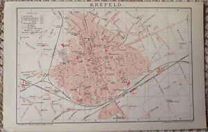 Antique Map Of Krefeld City Germany Plate From Brockhaus - Germany map krefeld