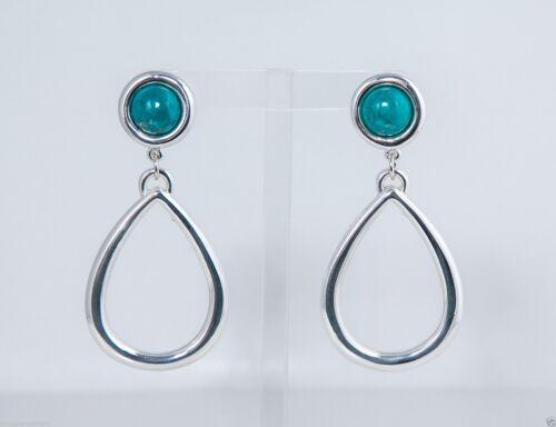 Simon Sebbag Sterling Silver Turquoise Stud w// Open Tear Earrings ES58//TQ