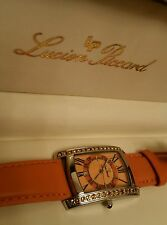 Ladies Lucien Piccard M9443OR Orange Sapphire Crystal Swiss Leather Watch