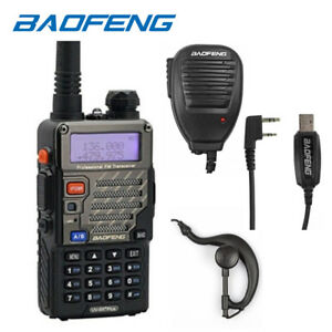 Baofeng-UV-5R-Plus-USB-Cable-Kit-Speakers-VHF-UHF-Ham-Radio-Walkie-Talkie