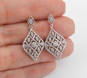 5ct-Round-Cut-VVS1-Diamond-Art-Deco-Filigree-Drop-Earrings-14k-White-Gold-Finish