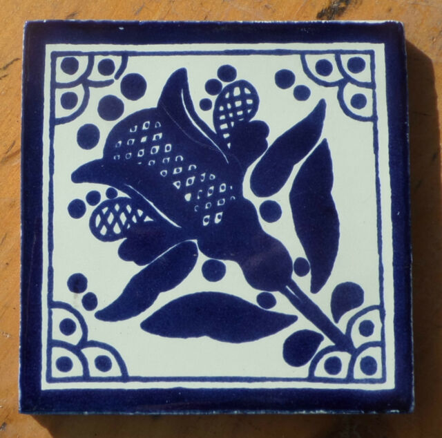 "10~MEXICAN TALAVERA POTTERY 4"" tile Hand Painted clay kiln fired Blue White"
