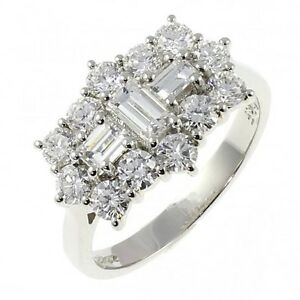 18Carat-White-Gold-One-Carat-Diamond-Round-Baguette-Cluster-Ring-1-00-carats-GVS