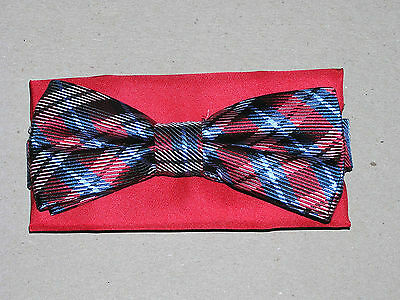 $59.50 New Jos A Bank  Red /& Blue plaid 100/% Silk Bow tie /& red pocket square