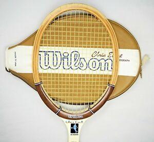 Wilson-Tennis-Racquet-Chris-Evert-Autograph-Wooden-frame-Made-in-USA-Speed-Flex