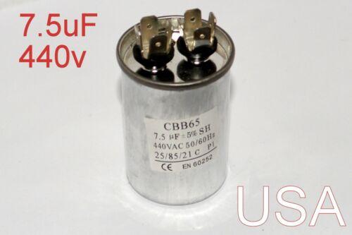 Dual Run Capacitor 7.5 MFD uF 440v AC ElectricMotor HVAC 440 vac volts USA