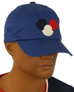 6d385fb437b NEW MONCLER MEN S BLUE COTTON LOGO BASEBALL CAP HAT ONE SIZE MADE IN ...