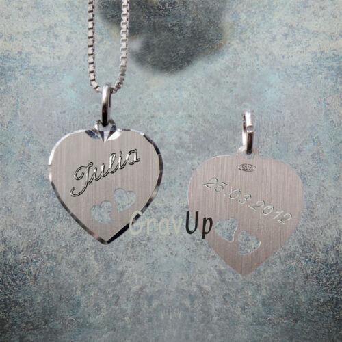 Sterling Silber Anhänger Herz mit Kette und Gravur a891b