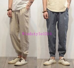 New-Mens-Retro-Trousers-Ankle-Banded-Cotton-Linen-Bloomers-Harem-Pants-Loose-Fit