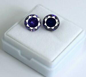 2-Pcs-Natural-Purple-Sapphire-Loose-Gemstone-Pair-8-Ct-Round-Cut-AGSL-Certified