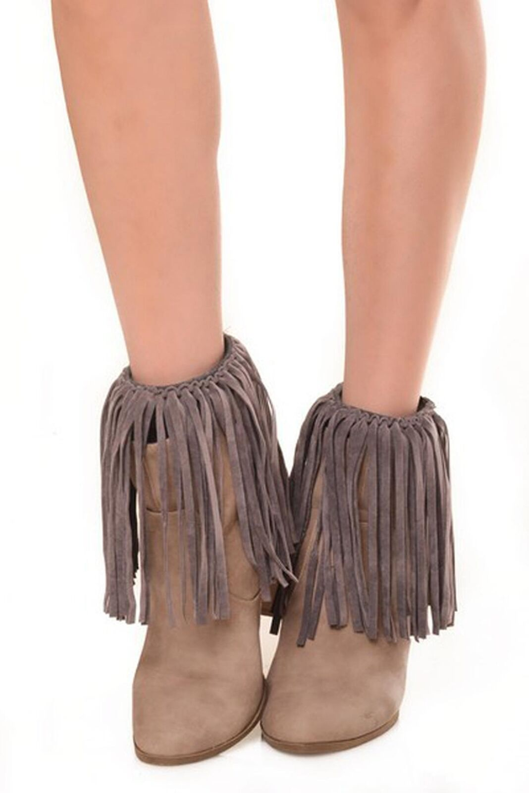 Zwapp Faux Suede Fringe Boots Cover Chacoal Grey #LG140
