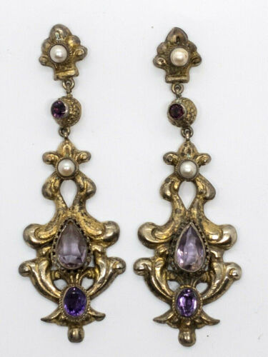 circa 1970 silver tone SILVER NECKLACE and EARRING set,Victorian  style necklace and pierced earring set with Amethyst stone