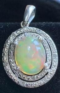 Colgante-de-plata-esterlina-con-diamantes-y-opalo-Amarillo-palido