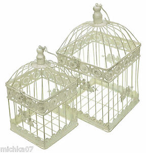 Shabby chic decorative vintage square wedding birdcages for Ornamental centrepiece for a dining table