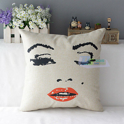 Audrey Hepburn Marilyn Monroe Cotton Linen Decor Throw Pillow Case Cover Print