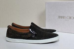 e2bde3178b5c sz 10 / 40.5 Jimmy Choo DEMI Black Glitter Slip On Trainers Flat ...